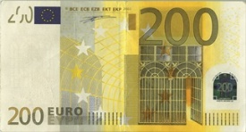 Dangerous type of a 200-euro counterfeit banknote of the ECB